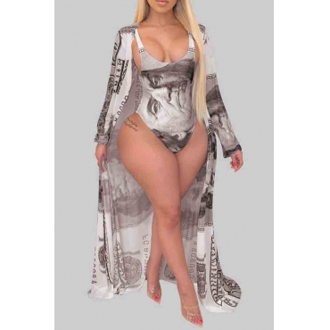 Lovely Print Brown Plus Size One-piece Swimsuit(With Cover-up)