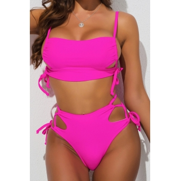 lovely Lace-up Rose Red Two-piece Swimsuit