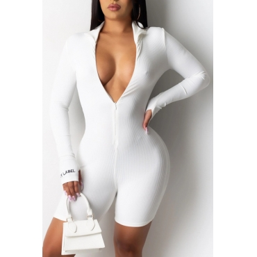 lovely Casual Zipper Design White One-piece Romper