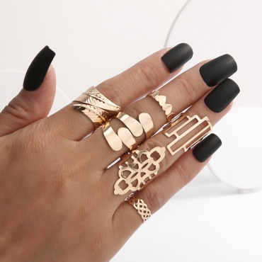 lovely Trendy 6-piece Gold Ring