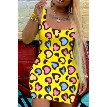 lovely Stylish U Neck Print Yellow Mini Dress