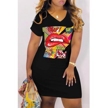 Lovely Casual Lip Print Black Knee Length Dress