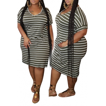 lovely Casual O Neck Striped Blackish Green Knee Length Plus Size Dress