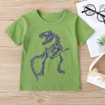 lovely Casual Print Green Boy T-shirt