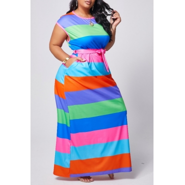 Lovely Casual O Neck Striped Rose Red Maxi Plus Size Dress
