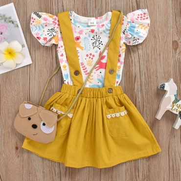 lovely Sweet Print Yellow Girl Two-piece Skirt Set