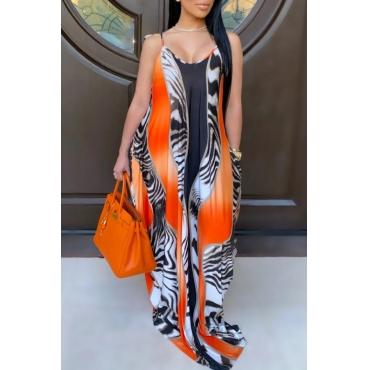 lovely Bohemian Print Loose Multicolor Maxi Dress