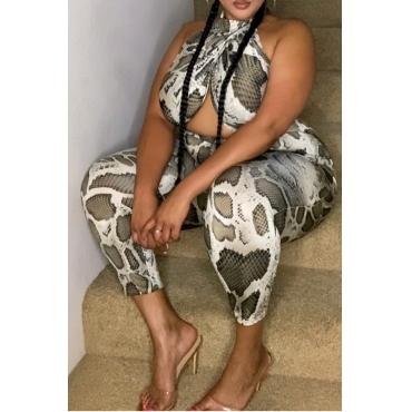 lovely Stylish Snakeskin Print Plus Size One-piece Jumpsuit