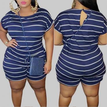Lovely Leisure O Neck Striped Dark Blue Plus Size One-piece Romper