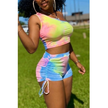 Lovely Street One Shoulder Tie Dye Multicolor Two Piece Shorts Set
