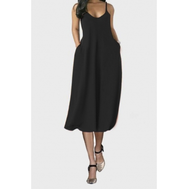 lovely Casual V Neck Pocket Patched Black Mid Calf Dress