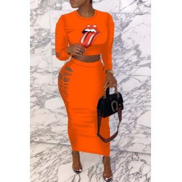 lovely Leisure Print Hollow-out Orange Two-piece Skirt Set
