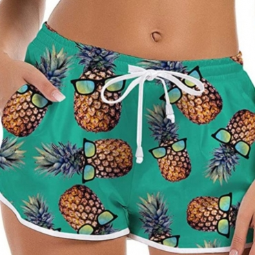 lovely Sportswear Pineapple Print Green Shorts