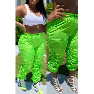 lovely Sportswear Fold Design Green Pants