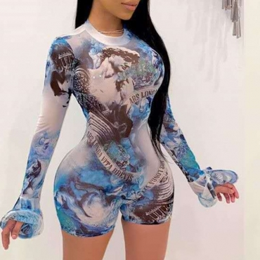 lovely Stylish Print Skyblue One-piece Romper