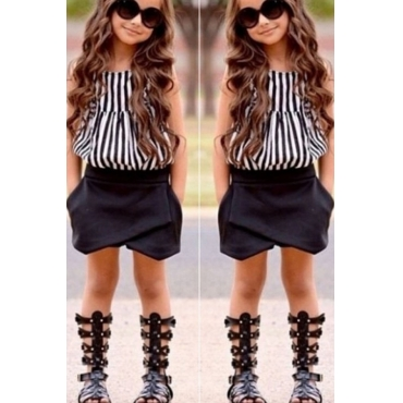 lovely Casual Striped Black Girl Two-piece Shorts Set
