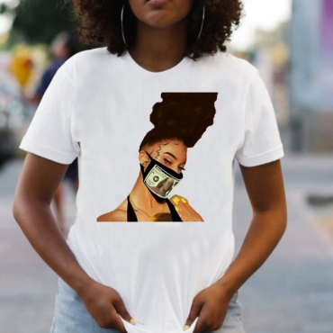 lovely Leisure O Neck Print Coffee T-shirt