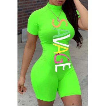 lovely Sportswear Letter Print Green One-piece Romper