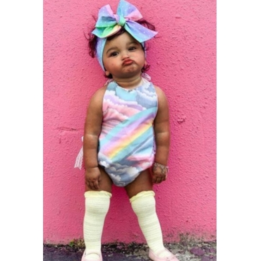 lovely Sweet Tie-dye Multicolor Girl One-piece Romper