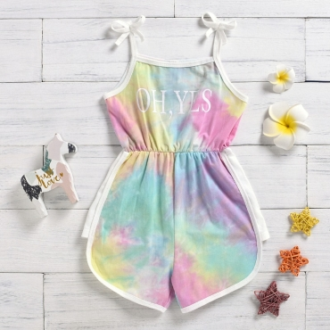 lovely Stylish Tie-dye Multicolor Girl One-piece Romper