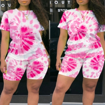 Lovely Leisure Tie-dye Pink Plus Size Two-piece Shorts Set