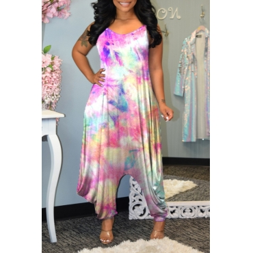 lovely Stylish Tie-dye Loose Multicolor One-piece Jumpsuit