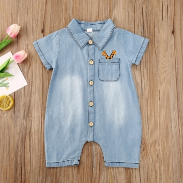 lovely Trendy Buttons Design Baby Blue Boy One-piece Jumpsuit