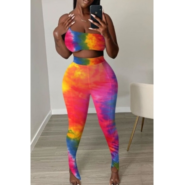 lovely Casual One Shoulder Tie-dye CrociTwo-piece Pants Set