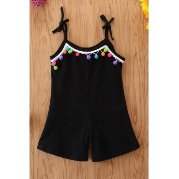 lovely Trendy Patchwork Black Girl One-piece Romper