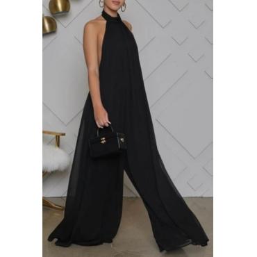 lovely Stylish Backless Black One-piece Jumpsuit