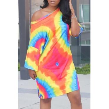 lovely Casual Tie-dye Multicolor Mini Dress