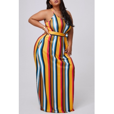 lovely Casual Striped Yelllow Maxi Plus Size Dress