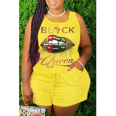 lovely Sportswear Lip Print Yellow Plus Size Two-piece Shorts Set
