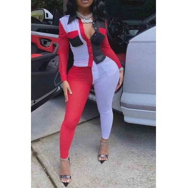 lovely Street Color-lump Patchwork Red Plus Size Two-piece Pants Set