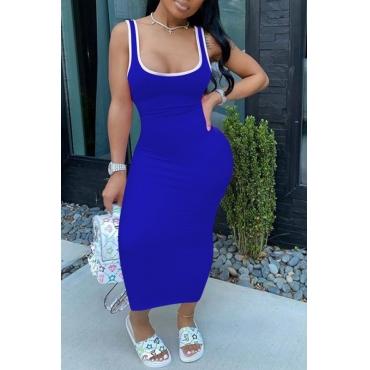lovely Sportswear U Neck Patchwork Blue Ankle Length Dress
