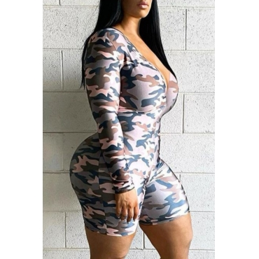 lovely Stylish Camo Print Grey One-piece Romper