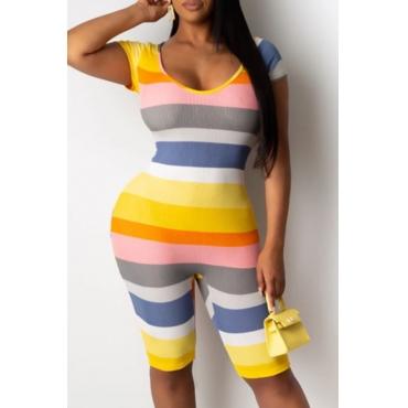 lovely Trendy Rainbow Striped One-piece Romper