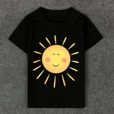 lovely Leisure O Neck Print Black Boy T-shirt