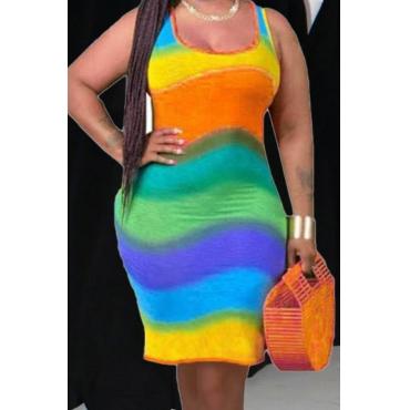 lovely Trendy Tie-dye Skinny Orange Mini Dress