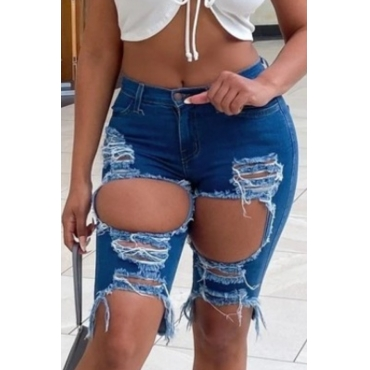 Lovely Stylish Hollow-out Deep Blue Denim Shorts
