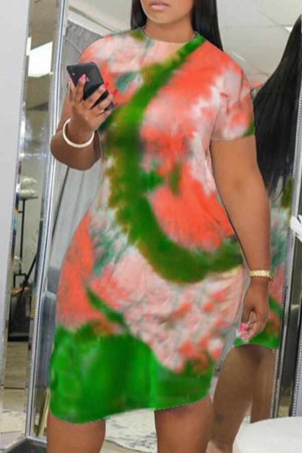 Lovely Leisure O Neck Tie-dye Green Knee Length Dr