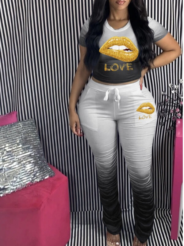 LW Plus Size Sportswear O Neck Print Fold Design Black Two-piece Pants Set
