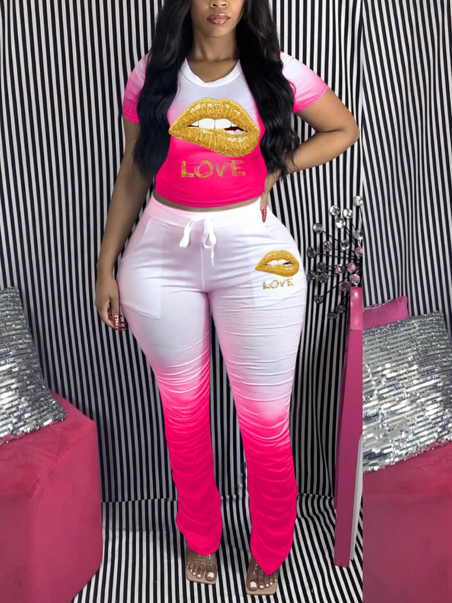 LW Plus Size Sportswear O Neck Print Fold Design Pink Two-piece Pants Set