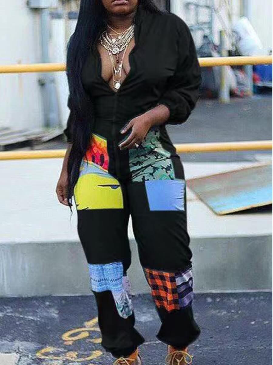 Lovely Trendy Print Zipper Design Black Plus Size