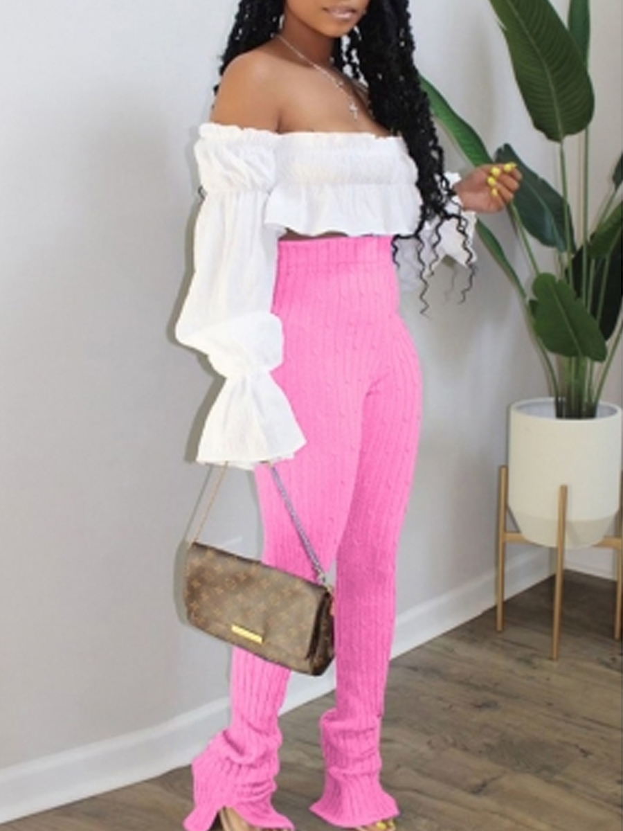 Two-piece Pants Set lovely Trendy Dew Shoulder Flounce Design Pink Two Piece Pants Set фото