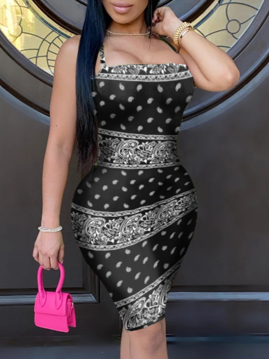 Lovely Stylish Print Bandage Design Black Knee Length Dress(Batch Print) фото