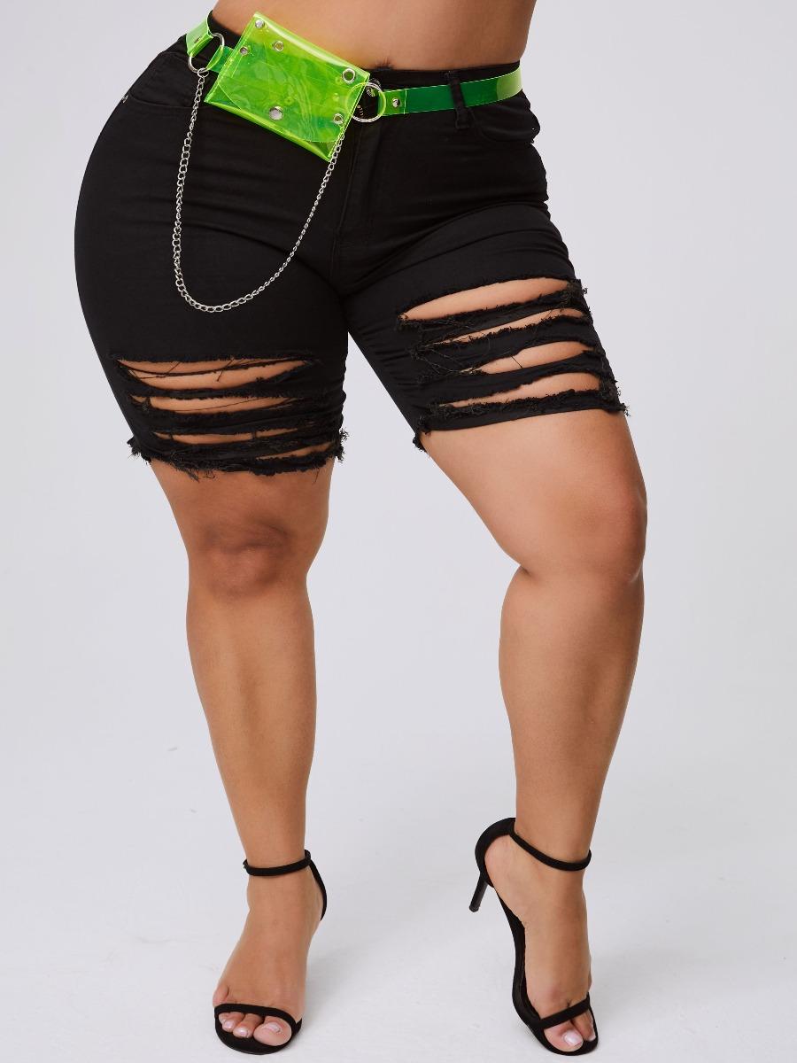 lovely Stylish Hollow-out Black Plus Size Shorts