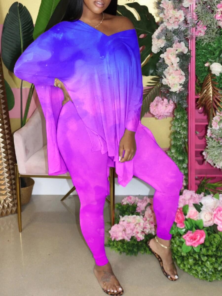 Two-piece Pants Set lovely Street V Neck Tie Dye Side Slit Purple Two Piece Pants Set фото