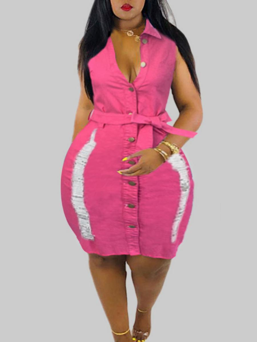 Plus Size Denim Dresses Lovely Stylish Broken Holes Rose Red Knee Length Plus Size Dress фото