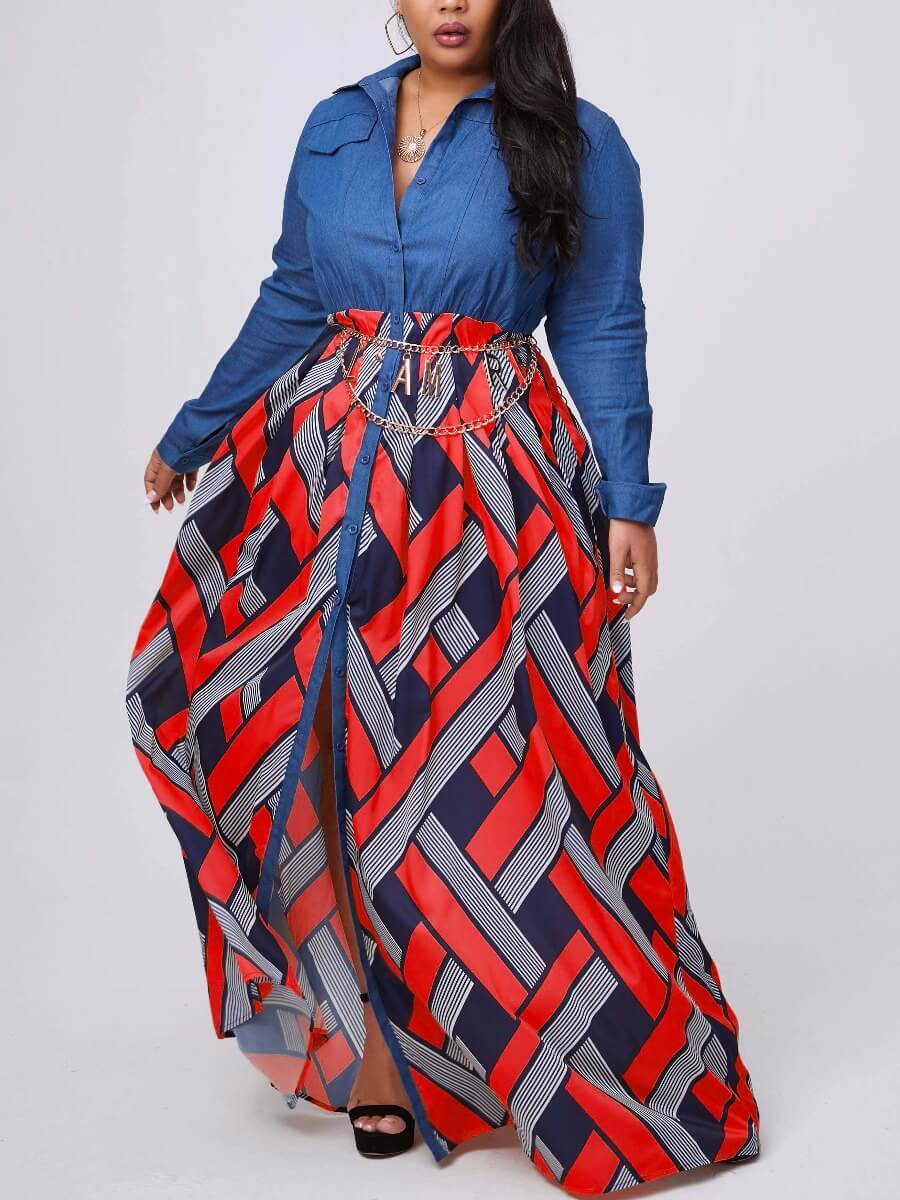Lovely Stylish Print Patchwork Red Maxi Plus Size Dress фото